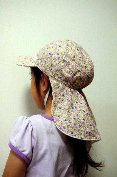 日除けカバー付き帽子(キッズジュニアサイズ着用).JPG